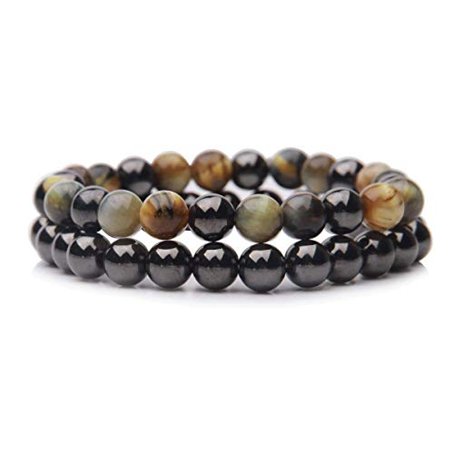 Jardme 2 Pcs Distance Relationship Bracelets Tiger Eye Stretch Bracelet & Hematite Bracelet Magnetic Therapy Bracelets Natural Stone Yoga Bracelet ()