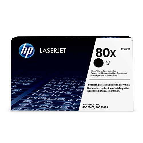 - HP 80X (CF280X) Black High Yield Toner Cartridge for HP LaserJet Pro M401 M425