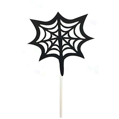 Funpa 24PCS Party Cake Topper Spider Web Shape Cupcake Topper for -