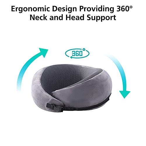 Visenta Neck Pillow for Travel. Premium Memory Foam. 360 Degree Surrounding Design Provides Incredible Comfortable Full Neck and Chin Support. Compressible and Easy to Carry with Travel Pouch. (Gray)