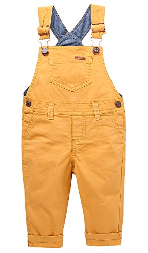 OFFCORSS Toddler Boy Kid Infant Bib Matching Brother Twin Jean Denim Cotton Cute Long Overalls Dungarees with Hooks Outfit Overol Para Nios Yellow 2T