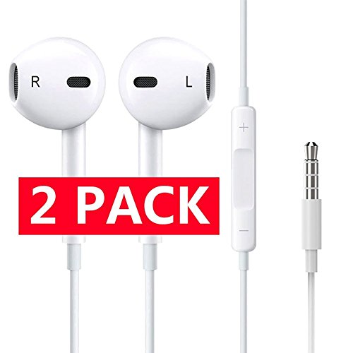 hones with Mic Smartphones Compatible With 3.5 mm Headphone For iPhone iPad iPod Samsung Galaxy and More Android Smartphones Compatible With 3.5 mm Headphone 2-PACK WHITE (Hybrid Moving Head)
