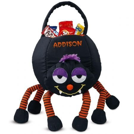 "Lillian Vernon Spider Personalized Halloween Treat Bag – Large Trick or Treat Tote & Candy Basket for Kids, Polyester, 9"" L X 7"" W X 22"" H (Bottom of Legs to top of Handle)"