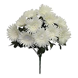 "17"" Gerbera Daisy Bush Silk Wedding Flowers Home Party Holiday Decor 12 Daisies (Cream) 91"