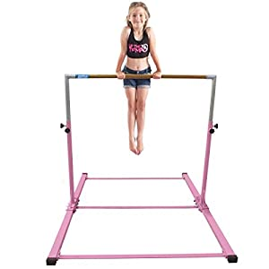 "Gymmatsdirect Gymnastics Junior Training Bar Adjustable Horizontal Kip Bar for Kids 4.2' Wide 6' Long 36"" 59"" High, Pink/Blue"