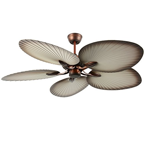 Tropical Ceiling Fan without Light and 5 ABS Palm Blades Remote Control for Living Dining Bedroom Hotel 52 Inch Arkonfire
