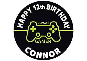Gamer Playstation Nintendo Xbox Edible Cake Image Personalized Topper Icing Sugar Paper 8 Round Circle by INKUTEN