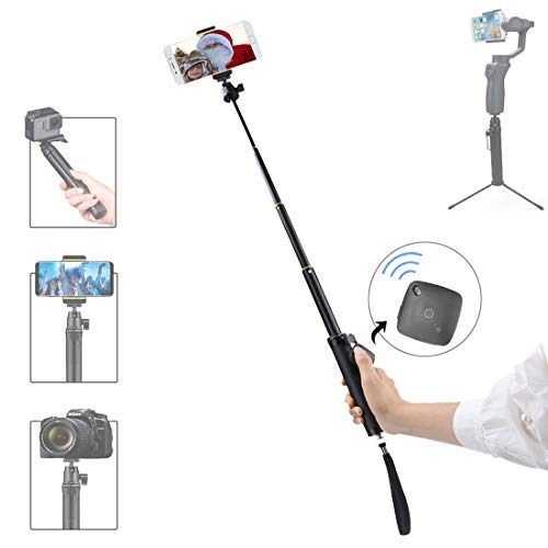 "Action Bluetooth Mobile (RCGEEK Bluetooth Camera Selfie Stick Tripod with Carabina Portable Aluminum Alloy Grip Telescopic 26.8"" with Bluetooth Remote Compatible with 4-5.5"