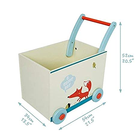 Labebe Baby Walker with Wheel, White Fox Printed Wooden Push Toy, 2-in-1 Wooden Activity Walker for...