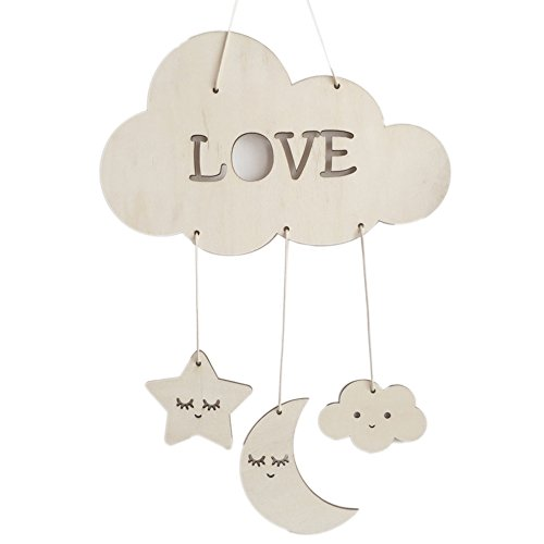 Wingbind Sleeping Moon and Stars Pendant,Nordic Style Wooden Handmade Craft,Home Bedroom/Party/Wedding/Birthday/Nursery/Cradle/Baby Shower/Photoshoot Hanging Decoration