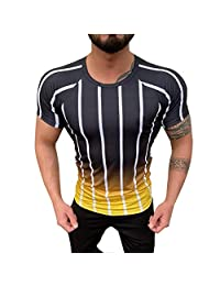 Men's Home Gradient Striped Pattern Casual Fashion O-Neck Short Sleeve Tee Shirt Tops