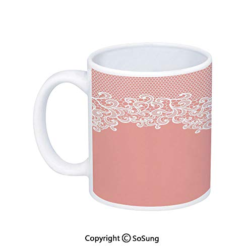 Peach Coffee Mug,Abstract Lace Design Wedding Engagement Inspiration Floral Arrangement Pale Backdrop Decorative,Printed Ceramic Coffee Cup Water Tea Drinks Cup,Coral White ()