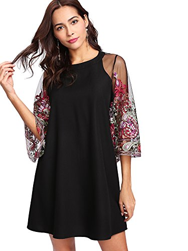 DIDK Women's Floral Embroidery Mesh Flounce Sleeve Tunic Dress Black M