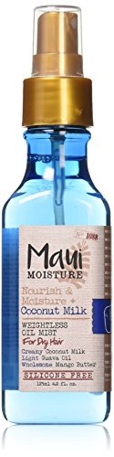 Milk Mist - Maui Moisture Nourish & Moisture + Coconut Milk Weightless Oil Mist, 4.2 Ounce, Silicone Free Oil Mist Helps Control Frizz and Leave Hair Looking Smooth, Healthy and Shining