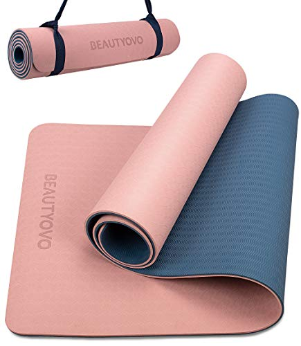 Yoga Mat with Strap, 1/3 Inch Extra Thick Yoga Mat Double-Sided Non Slip, Professional TPE Yoga Mats for Women Men…
