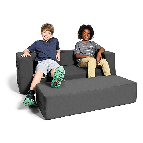 Jaxx Zipline Kids Sofa & Large Ottoman, 3 in 1 Fold Out Sofa, Big Kids Edition, Charcoal