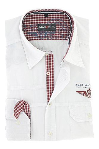 Marvelis Herren Casual Hemd Langarmhemd mit Kent Kragen Freizeithemd 100% Baumwolle Gr. L Weiss