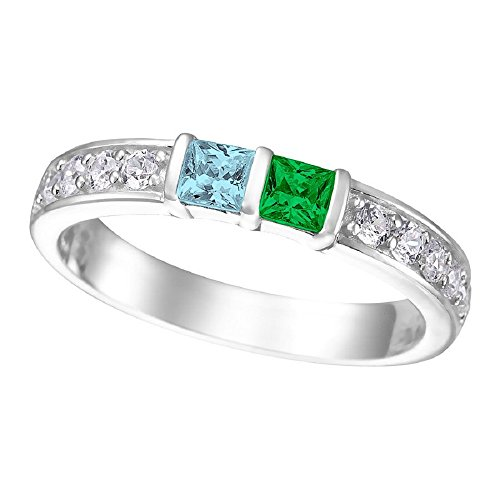 NANA Princess w/side CZs Couples 2 stones Ring with His & Hers Simulated Birthstones - 14K White Gold - Size 7 by NaNa