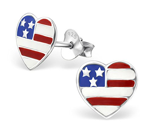 Best Wing Jewelry .925 Sterling Silver American USA Flag on Heart Stud Earrings for Children and Teens