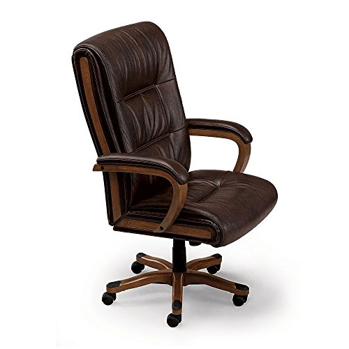Set of Six Wood Trimmed Big and Tall Leather Executive Chair Black Leather/Brunette Finish Dimensions: 27.75