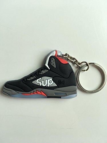 Jordan Retro 5 X Supreme Black Sneaker Keychain Shoes Keyring AJ 23 OG -