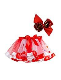 Baby 1st Birthday Tutu Skirt Set, Rainbow Layered Ballet Tulle Party Dress with Hair Bows for Toddlers Little Girls
