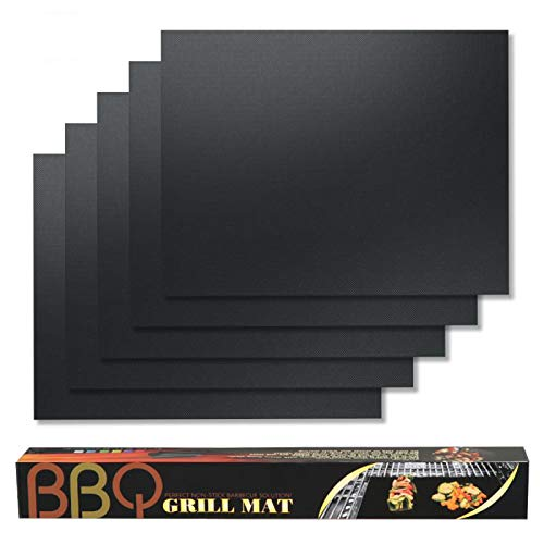 BBQ Grill Mat, 100% Non-Stick Barbeque Grill Mats Heavy Duty Reusable, Easy to Clean PFOA Free, Grilling Mat for Barbecue Cooking & Baking, Works on Gas Charcoal Electric Grill,Set of 5 Pack