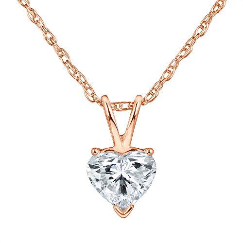 Shape Diamond Solitaire Pendant - Heart Shape Diamond Solitaire Pendant Necklace Set in 14k Gold H-I I1 IGI Certified (Rose-Gold, 0.23)