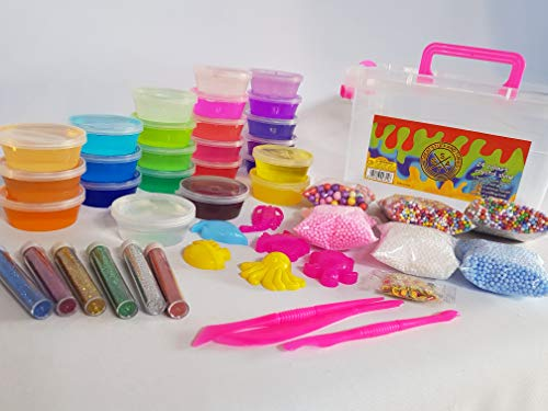 - 24 Colours Crystal Slime (Pink) carry/storage box, 6 bags foam beads, 6 glitter tubes, crafting tools, the ultimate DIY slime kit for girls and boys