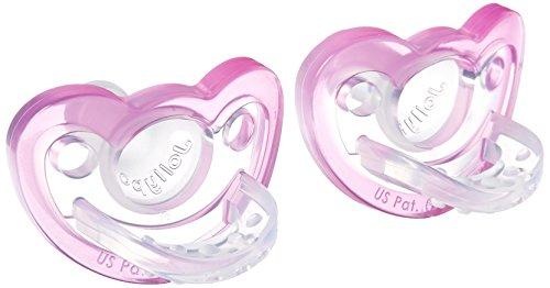 RaZbaby JollyPop Baby Pacifier Newborn, 0-3m, PINK, Double pack (Pink Baby Pacifier)