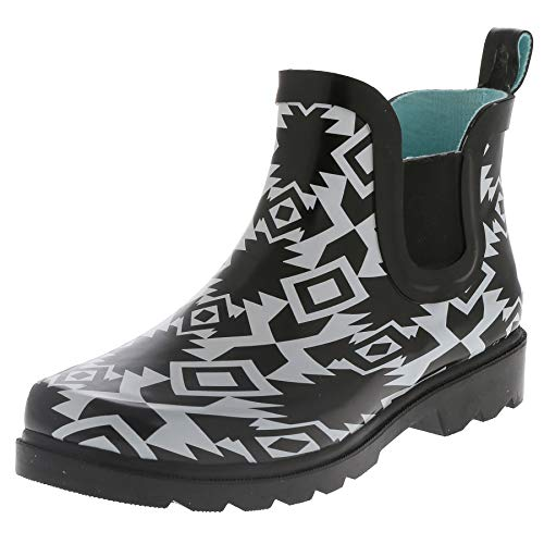 (Capelli New York Ladies Terra Diamonds Printed Jodhpur Rain Boots Black Combo 8)