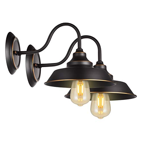 (Retro Gooseneck Wall Lamp Wall Sconce Iron Durable Indoor Wall Fixture, Oil Black Finish with Highlights and Metal Shade Industrial Vintage Farmhouse Wall Light 2-Pack)