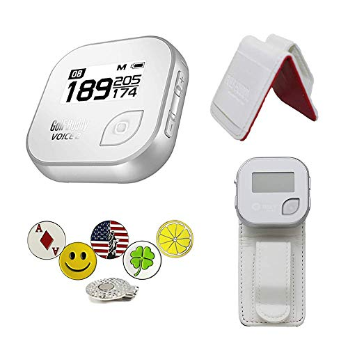 GolfBuddy Voice 2 Golf GPS Rangefinder Bundle with Belt Clip, 5 Ball Markers and 1 Hat Magnetic Clip