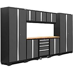 NewAge Products 50408 Bold 3.0 Garage Storage Cabinet Set with Worktop (9-Piece), Gray