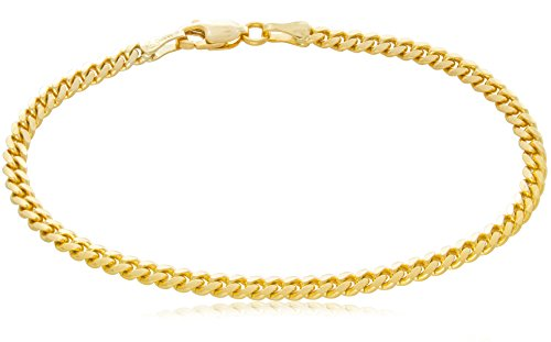 - Solid 14K Yellow Gold Miami Cuban 3.2mm Link Chain Bracelet | Mid-Weight Width Polished Finish | 7