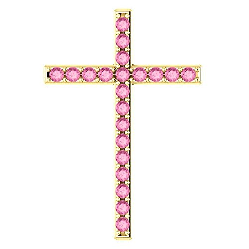 - He First Loved Us Pink Sapphire Gold Cross Pendant, 18K Yellow Gold
