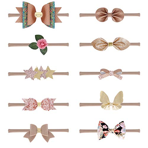 Kimnny Hair Band, 10 Pieces/Setborn Baby Kids Champagne Color Series Thin Nylon Headband Faux Leather Glitter Sequins Bowknot Hairband Traceless Headwrap 0-5T