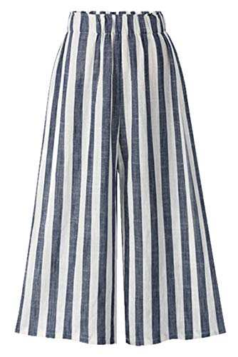 (Chartou Women's Casual Striped High-Waist Wide-Leg Cotton Lightweight Palazzo Capri Culotte Pants (Blue, Medium))