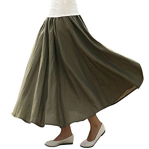 Poche taille Casual de Elastique OCHENTA Femme Arm Vert Jupe Lin Tour xqwnx0XC1