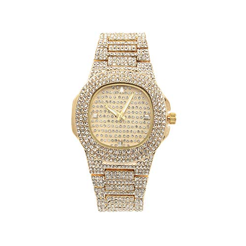 Ladies Flawless Hip Hop Nauti Designer Look Full Diamond Blinged Out Gold Watch Case, Dial and Bracelet - ST10266 Gold