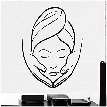 aobobaihuo SPA Sign Facials Quote Tatuajes De Pared Máscara Cuidado De La Piel Tratamiento Masaje Corporal Vinilo Adhesivo Salón De Belleza Decoración De La Pared 32 * 42Cm