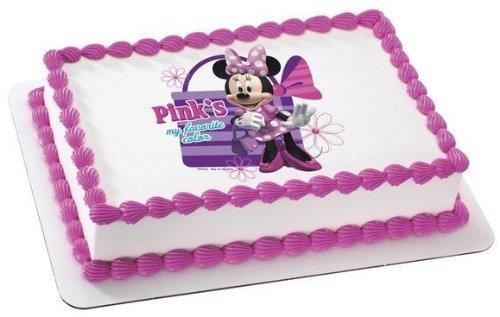Minnie Mouse color rosa Cumpleaños ~ Comestible imagen ...