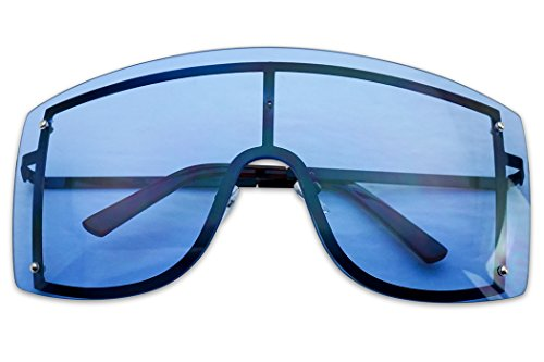 (SunglassUP XL Oversized 155mm Rimless Shield Colored Lens Big Sunglasses for Women (Black Frame, Blue))