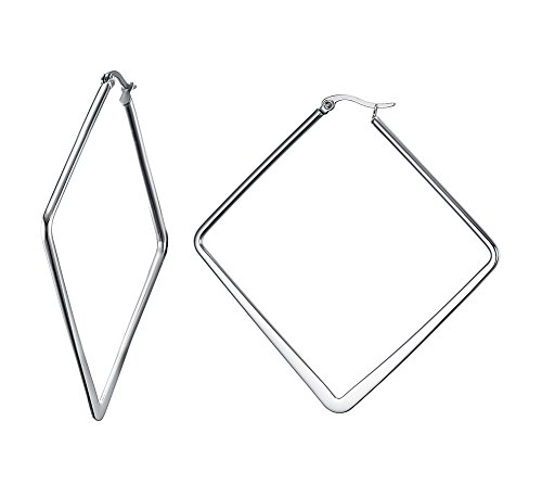 Stainless Steel Oversize Square-shaped Polished Simple Plain Geometric Hoop Earrings for Women (Earrings 80s Style)