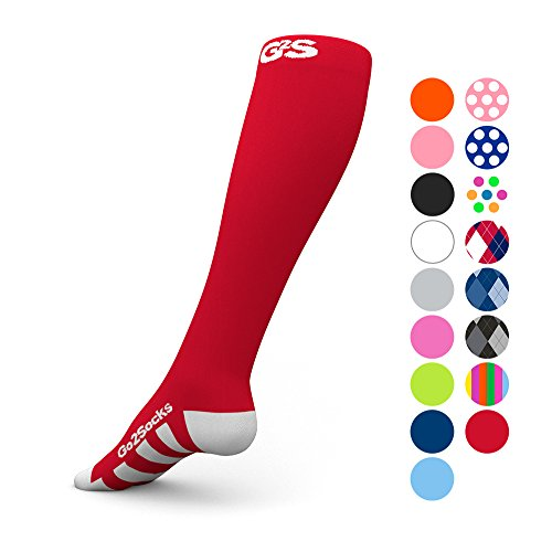 Go2 Compression Socks (2 Pair) for Women and Men Athletic Running Socks for Nurses Medical Graduated Nursing Compression Socks for Travel Running Sports Socks (2RedM) Compression Socks