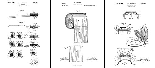 Patents Art - Bathroom Prints Art- Paper Roll 1891 Print- Toilet Paper Patent, Toothbrush Patent Poster Dental, Toilet Seat & Cover Patent - 3 Set - 8.5 x 11 inches ()