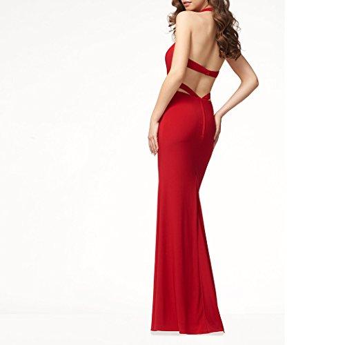 Blingdeals Front Sans Manches Licou Femmes Fente Robe Maxi Mariage Vintage Rouge