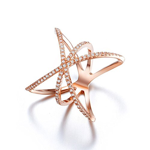 18k Flag Gold (Redbarry Trendy Cross X Shaped Mid Finger Rings with Tiny CZ Paved in 18k Rose Gold Plated, Size 6.5)