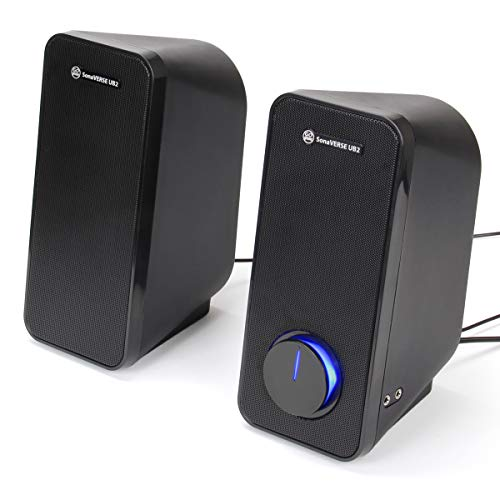 GOgroove UB2 Desktop Computer Speakers for Laptop and PC - USB Powered Multimedia Speakers with 2-Way Drivers for 32W of Power and Bass, Built-in Headphone & AUX Input, LED Volume Knob