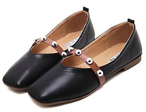 Aisun Mujeres Vintage Tachonado Correa Cuadrada Dedo Del Pie Bajo Corte De Conducción Resbalón En Los Zapatos Planos Negro